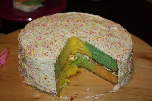 Soooooo next time I make smaller color blocks to get the look that I desire. It was yummy though :).